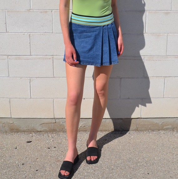 Pleated Denim Mini Skirt