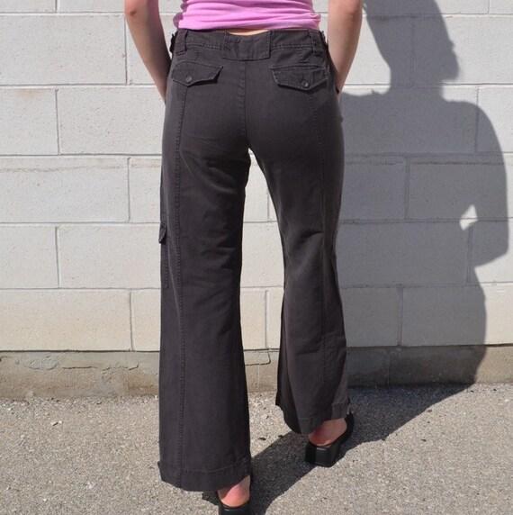 Low Rise Brown Flare Leg Cargo Pants