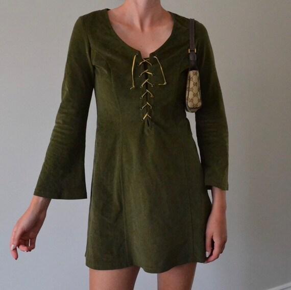 Vintage Le Château Bell Sleeve Mini Dress