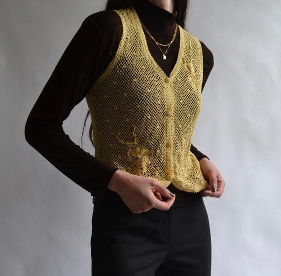 Crochet Style Button Up Sweater Vest - image 4