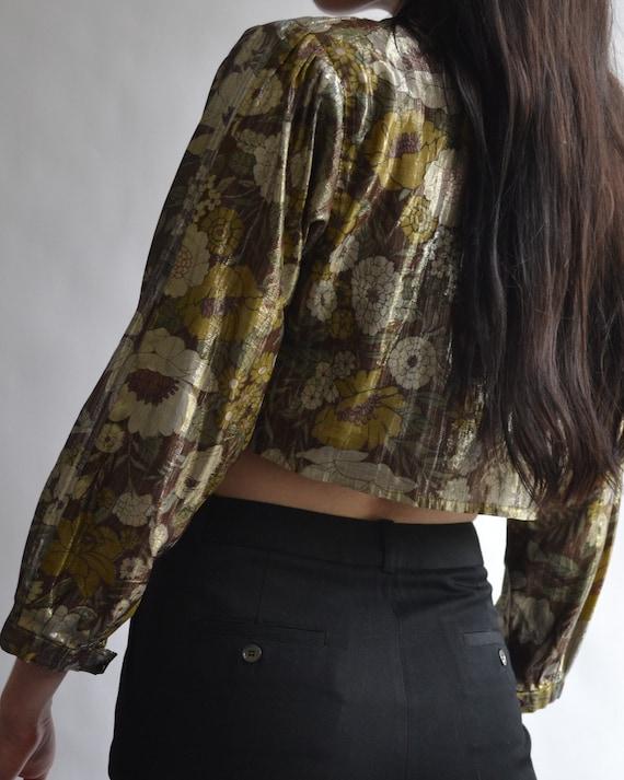 Vintage Cropped Long Sleeve Blouse - image 3