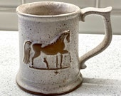 Vintage Weathervane Tankards Goss Speckle Clay Pottery Mug Crafted in Vermont Vintage Weathervane Tankards Horse Mug Antique Cup