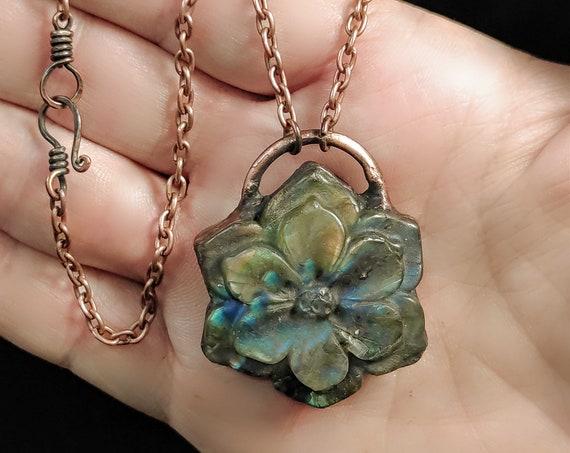 Labradorite Flower Necklace | Electroformed Copper