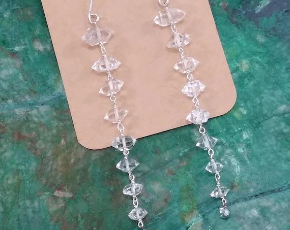 Long Herkimer Diamond Earrings - Choose Sterling Silver or Gold Filled