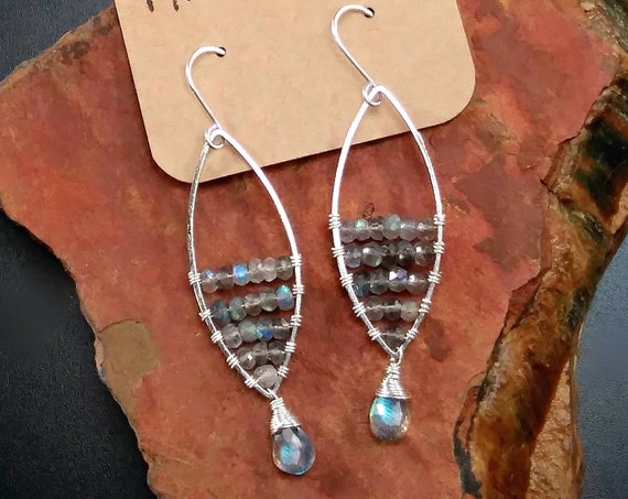 Sterling Silver Blue Labradorite Earrings