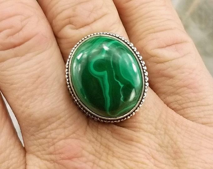 Size 6.75-925 Silver Malachite Statement Ring