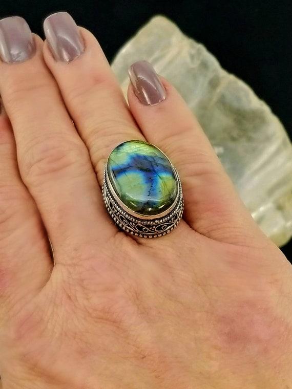 Spectrolite Labradorite Statement Ring - Size 7 - 925 Silver