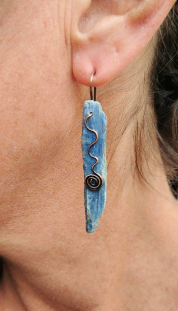 Kyanite Earrings - Choose Oxidized Copper or Oxidized Sterling Silver