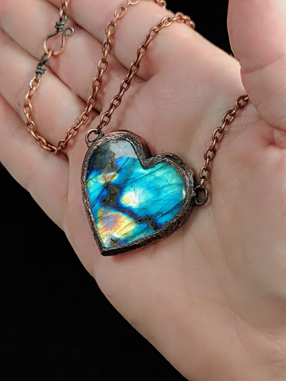 Double Sided Labradorite Heart Necklace | Electroformed Copper