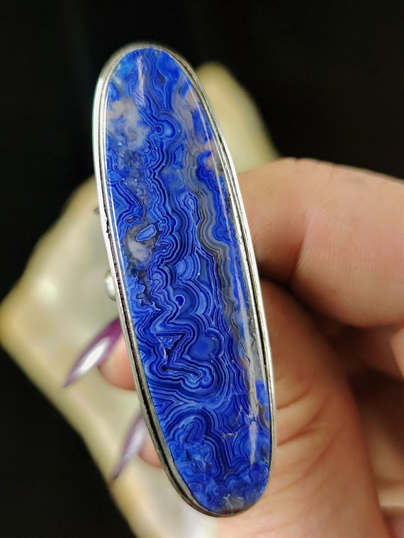 Large Sterling Silver Blue Crazy Lace Agate Statement Ring - Size 6.25