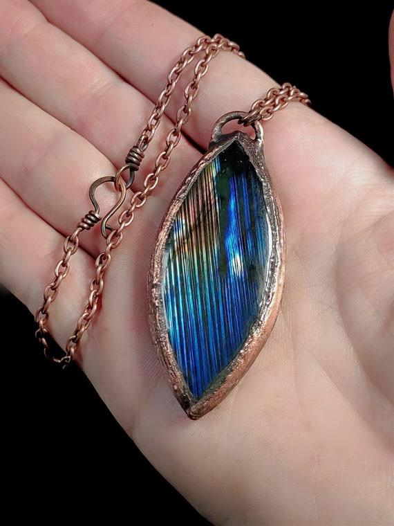 Blue Labradorite Necklace | Electroformed Copper