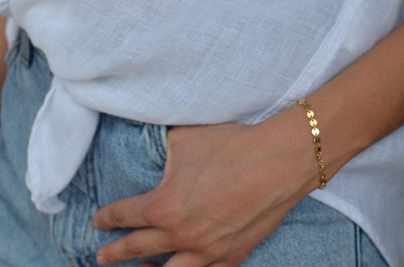 disc bracelet dainty lightweight bracelet gold filled bracelet AKELA