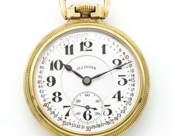 1919 Illinois Bunn Special 48 Hour Pocket Watch 23 Jewels 10K Gold Filled 6 Pos.