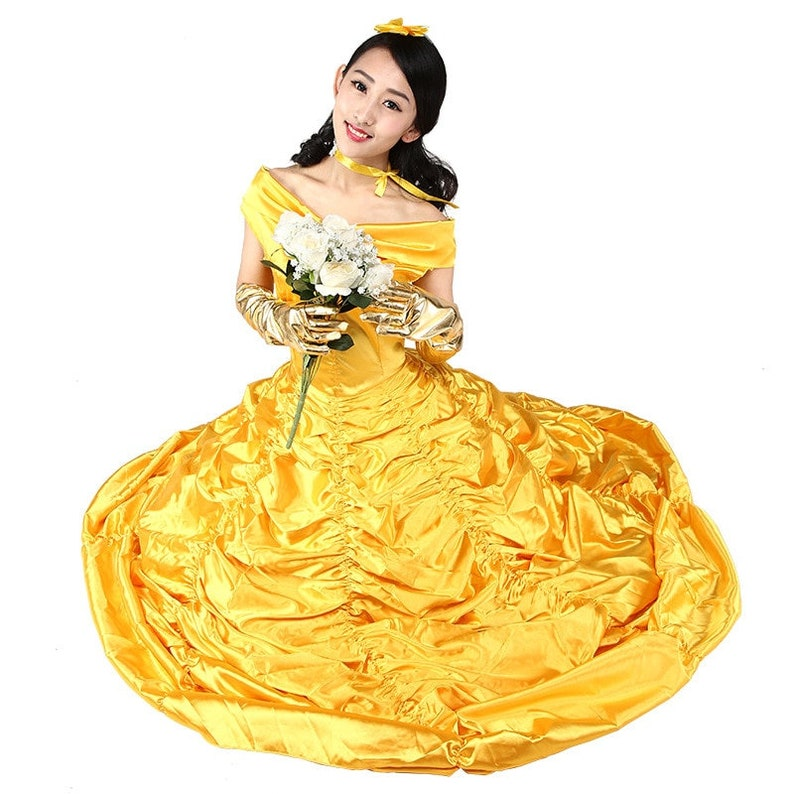 Beauty And The Beast adults cosplay christmas womens princess ball gown belle costume for kids dress yellow gown fancy women