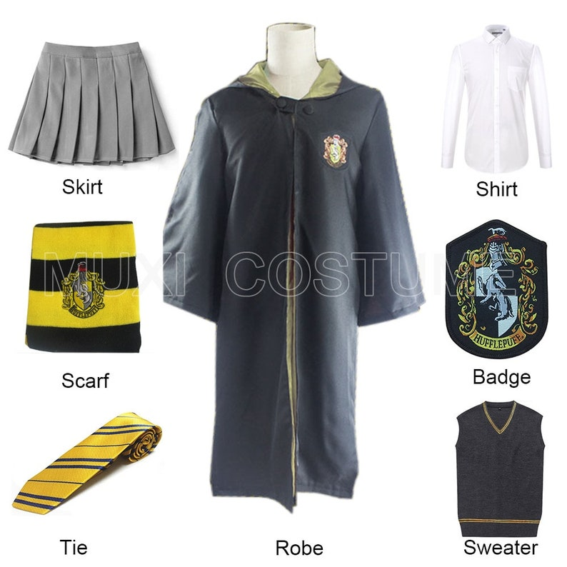 KidsAdult Hufflepuff Cosplay For Harris Costume Clothes Robe Cloak with Skirt Shirt Sweaters Tie Scarf Badge