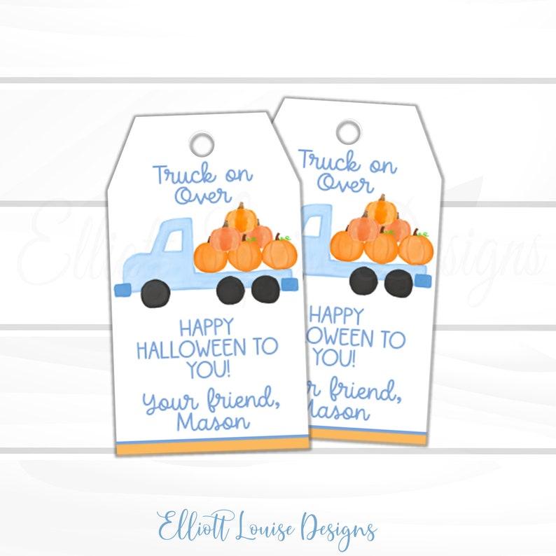 Halloween Blue Pumpkin Truck Favor Tag EDITABLE Halloween Favor Tag Instant Access Halloween Truck on Over Favor Tag Halloween Kids Tag