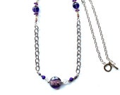 Purple glass bead necklace