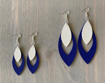 Double Layered Royal Blue and White Earrings