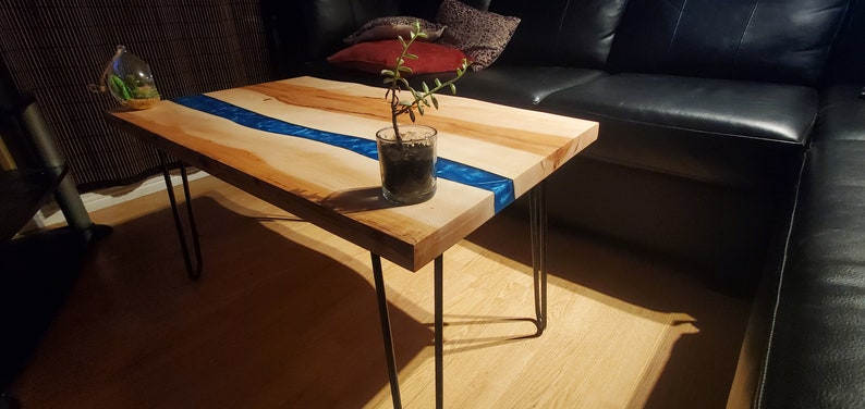 Live edge Table Made of Maple Wood with a Blue Epoxy