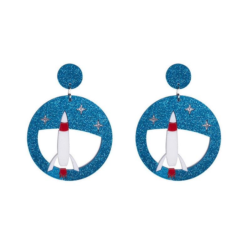 Rocket to Sky Science Glitter Blue Aerospace engineering Missile Rocket Engine Dangle Earrings