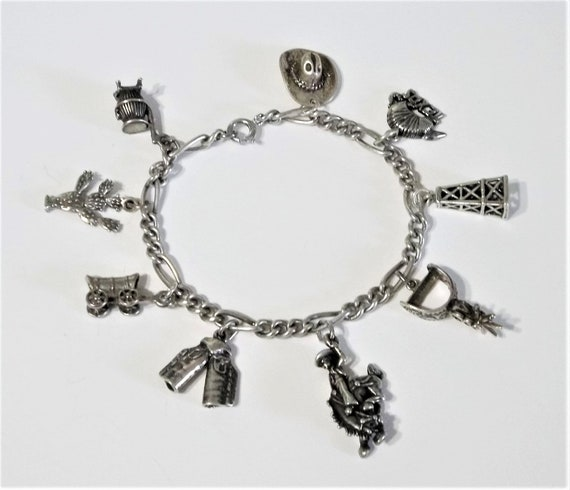 Vintage Sterling Silver 925 Texas Ranger Sheriff Cowboy Wild West Bracelet Charm