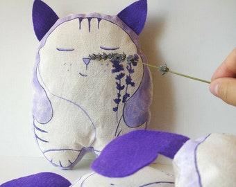 Purple stuffed animal cat, cat lover gift, lavender pillows, sleeping cat, cat plushie, cat mom pillow, dried lavender gift, scented pillows