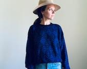 VINTAGE pullover knit sweater ski winter wool blend snowflakes black blue