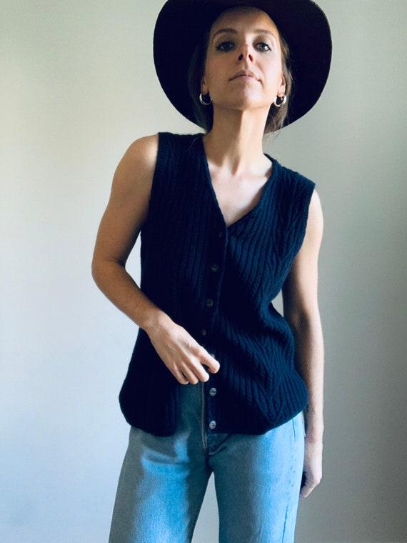 VINTAGE navy blue wool vest