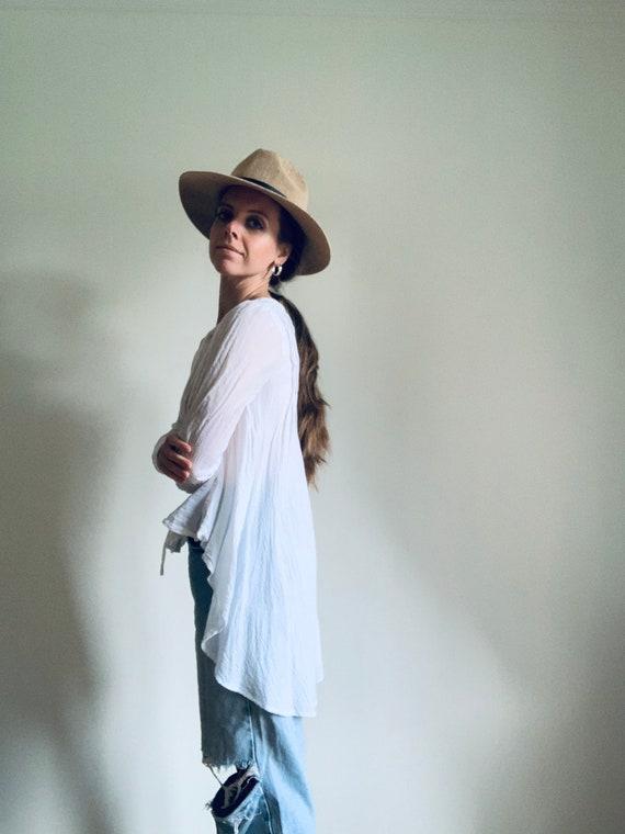 WHITE cotton blouse   bohemian   Y2K era  
