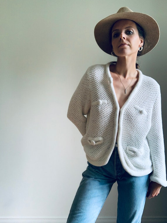 VINTAGE white knit cardigan sweater