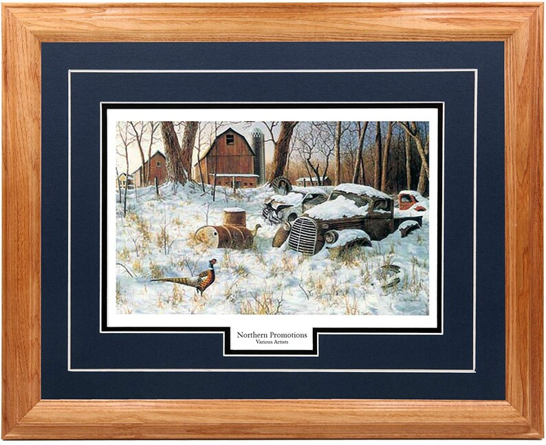Double Mat Winter Art Pheasant Winter Haven by Jim Hansel Real Solid Hardwood Picture Frame in Multiple Colors Wall Art Farming