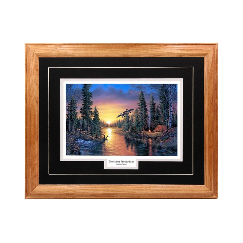 River Sunset Geese Sunset Arrival by Derk Hansen Double Mat Framed Wall Art Real Solid Hardwood Picture Frame in Multiple Colors