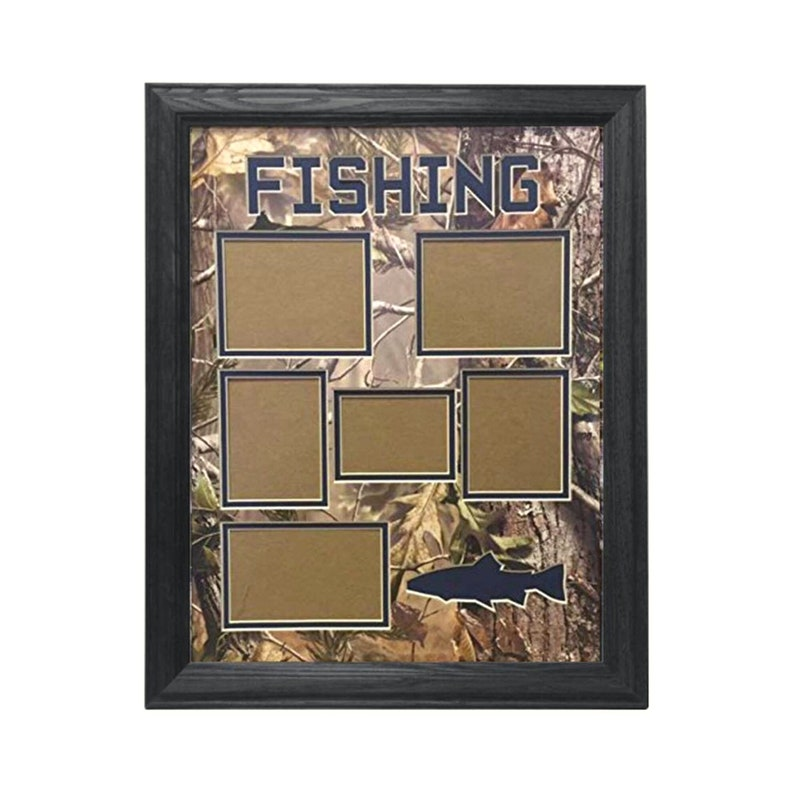 Real Solid Hardwood in Multiple Colors Premium Camo Bevel Cut Double Mat 6 Hole Real Tree Fishing Collage Picture Frame Fish Silhouette