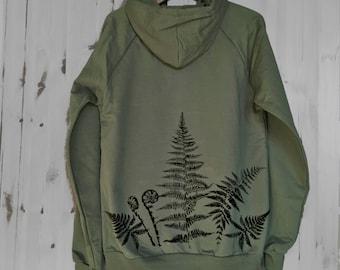 Organic Cotton Fleece Zip Hoodie with Graphic on Back, Eco-Friendly Ferns Fleece Jacket
