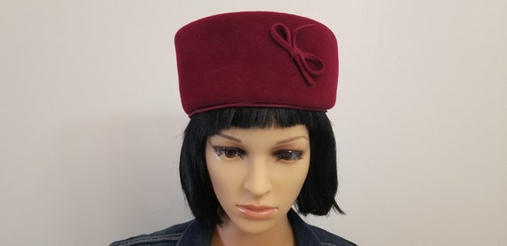 Vintage Pillbox Hat Burgundy Red Wool Velour Sheraton Brand Made in Italy