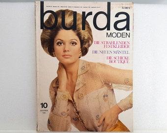 Burda fashions vintage October 1968, 60s sewing pattern clothing, fashion magazine fashion magazine, retro autumn fashion, sewing knitting cooking living