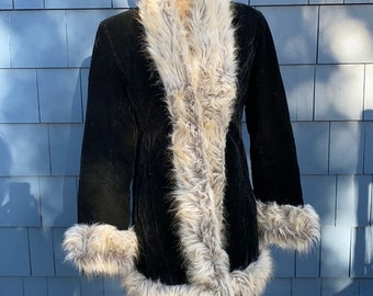 Penny Lane Jacket suede cropped jacket afghan jacket faux fur trimmed outerwear leather VERO MODA jacket women vintage clothing size small