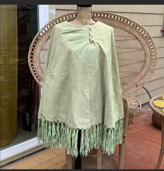 Vintage Terry Lewis green suede poncho