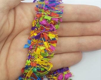 Indian Multi Rainbow Large Lopped Tassel Fringe Sari Border Trim 1M