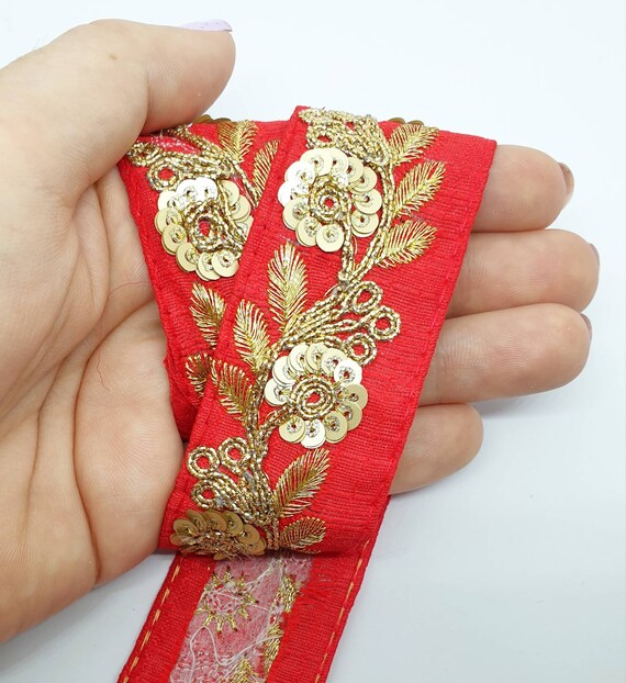 SOLD by METRE ATTRACTIVE INDIAN  BLACk SEQUIN RIBBON LACE TRIM 1 in.WIDE