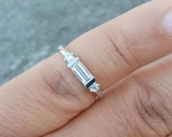 East West Cubic Zirconia Band  Horizontal Baguette Ring  Bezel Set CZ  Stackable CZ Band  Minimalist CZ Ring  Size 7  April Birthstone