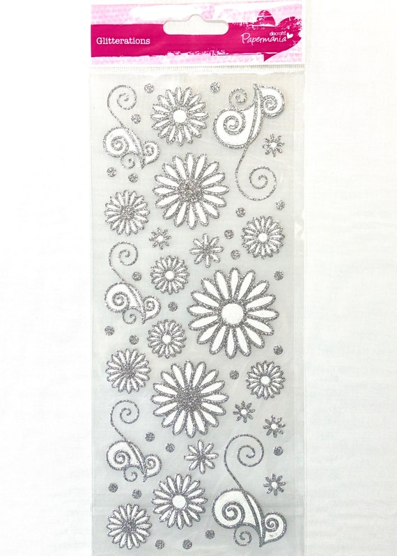 Floral Wreaths for cards and crafts Papermania Colour in Glitter Stickers