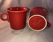 Set of 2 Fiestaware Scarlet Tom Jerry coffee mugs with the ring handle. Mint Condition