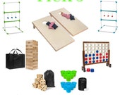 Pick Three Giant Lawn Game Party Bundle With Free Shipping, Tumble Blocks, Giant Connect 4 , Lawn Pong, Giant Dice, Ladder Golf