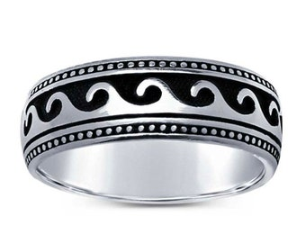 11mm wide Band Ocean Waves Bali Ornate Sterling Silver Ring AR35