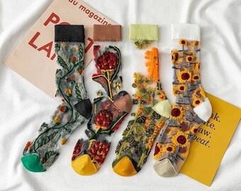 Floral Transparent Socks Women, Floral Mesh Socks, Floral Lace Socks, Floral Sheer Socks, Crystal Silk Socks, See-Through Socks
