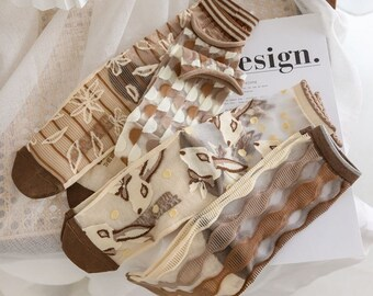 Transparent Socks Women, Vintage Mesh Socks, Bunny Lace Socks, Brown Sheer Socks, Crystal Silk Socks, See-Through Socks