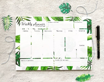 Leafy A4 Weekly Desk Pad - Weekly Planner Notepad - Tear Off Desk Pad - Weekly Organiser - Productivity Notepad - Xmas Gift - Christmas Gift