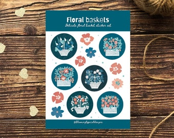 Flower Sticker Sheet - Plant Stickers - Bullet Journal Stickers - Glossy Sticker Set - Floral Stickers - Laptop Stickers - Diary Stickers