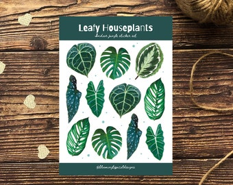 House Plant Leaf Stickers - Bullet Journal Stickers - Glossy Sticker Set - Tropical Leaves Stickers - Laptop Stickers - Diary Stickers